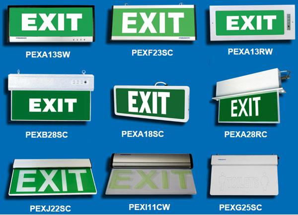 Các mã đèn exit Paragon phổ biến